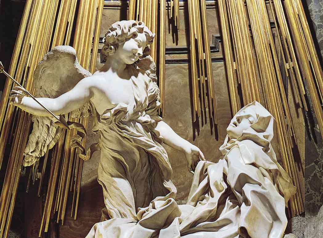 the ecstasy of st teresa The ecstasy of st teresa of avila, by giovanni lorenzo bernini, 1652, in the church of santa maria della vittoria, rome, italy.